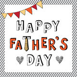 Happy father day doodle stripe frame Royalty Free Stock Images