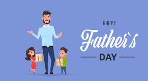 Happy father day family holiday african daughter and son present gifts for dad concept greeting card flat. Vector illustration Royalty Free Stock Images