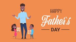 Happy father day family holiday african daughter and son present gifts for dad concept greeting card flat. Vector illustration Stock Photo