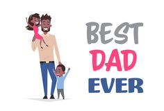 Happy father day family holiday, african man dad hold daughter and son greeting card flat vector illustration