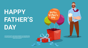 Happy Father Day Family Holiday, Dad Hold Beer Glass Present Box And Air Balloon Greeting Card Royalty Free Stock Photo