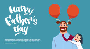 Happy Father Day Family Holiday, Daughter Embracing Dad Greeting Card Royalty Free Stock Image