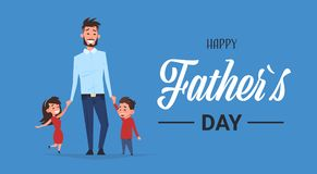 Happy father day family holiday daughter and son hold dad hand greeting card flat. Vector illustration Stock Photos