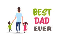 Happy father day family holiday daughter and son hold dad hand stand back greeting card flat. Vector illustration Royalty Free Stock Photos