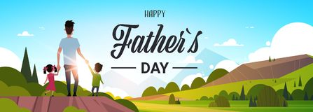 Happy father day family holiday daughter and son hold dad hand stand back looking sunset concept greeting card flat. Vector illustration Royalty Free Stock Photo