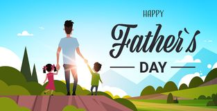Happy father day family holiday daughter and son hold dad hand stand back looking sunset concept greeting card flat. Vector illustration Stock Photos