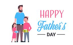 Happy father day family holiday daughter and son present gifts for dad concept greeting card flat. Vector illustration Royalty Free Stock Photography