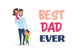Happy father day family holiday, man dad hold daughter and son greeting card flat. Vector illustration Stock Image