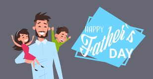 Happy father day family holiday, man dad hold daughter and son on grey backgroung greeting card flat. Vector illustration Royalty Free Stock Photo