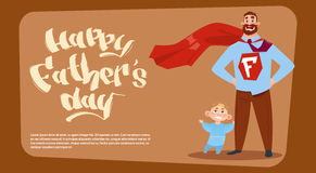 Happy Father Day Family Holiday, Man Dad With Son Wearing Superhero Cape Greeting Card. Flat Vector Illustration stock illustration