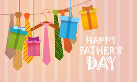 Happy Father Day Family Holiday, Necktie Greeting Card. Flat Vector Illustration Royalty Free Stock Image