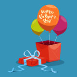 Happy Father Day Family Holiday, Present Box And Air Balloon Greeting Card Royalty Free Stock Photos