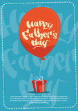 Happy Father Day Family Holiday, Present Box And Air Balloon Greeting Card Stock Photos