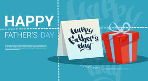 Happy Father Day Family Holiday, Present Box Greeting Card Royalty Free Stock Image