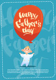 Happy Father Day Family Holiday, Son Hold Air Balloon Greeting Card Royalty Free Stock Photos
