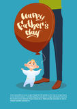 Happy Father Day Family Holiday, Son Hold Air Balloon Standing Near Dad Legs Greeting Card Royalty Free Stock Image