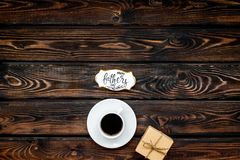 Happy Father Day with gift and coffee on wooden background top view mockup. Happy Father Day celebration with gift and cup of coffee on wooden background top royalty free stock images
