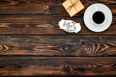 Happy Father Day with gift and coffee on wooden background top view mockup. Happy Father Day celebration with gift and cup of coffee on wooden background top stock images