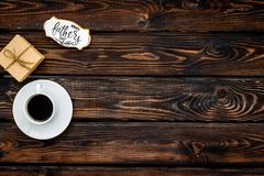 Happy Father Day with gift and coffee on wooden background top view mockup. Happy Father Day celebration with gift and cup of coffee on wooden background top royalty free stock photos