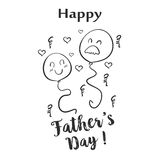 Happy father day hand draw doodle. Vector illustration Stock Photography