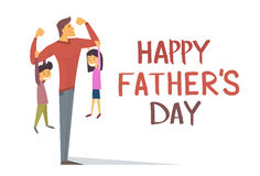 Happy Father Day Holiday, Strong Dad Son Daughter Hang On Arms Royalty Free Stock Images