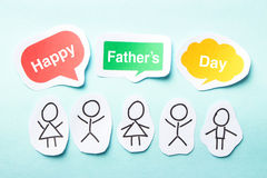 Happy Father day. Happy paper people with speech bubbles of Happy Father day text on the blue background Stock Photos