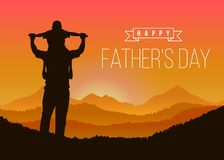 Happy father day with Silhouette son is riding his father`s neck at Mountain peaks in evening time vector design Stock Images