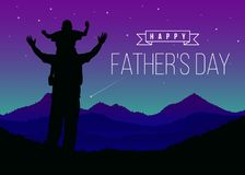 Happy father day with Silhouette son is riding his father`s neck look Meteor at Mountain peaks in night time vector design Stock Images