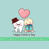 Happy Father Day with teeth. Happy Father Day with cartoon teeth and baby, great for dental care concept Stock Photo
