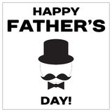Happy Father Day text with mustache, butterfly tie and tile hat. Black minimalistic design for a card. Vector EPS10. Royalty Free Stock Photo