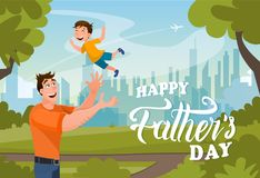 Happy Father Day Vector Banner Cartoon Character stock illustration