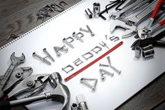 Happy Father Day Words created by screws, nails, etc. Royalty Free Stock Image