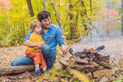 Happy father doing barbecue with his son on an autumn day Royalty Free Stock Photos