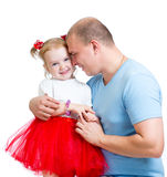 Happy father embracing child girl isolated on white Stock Images