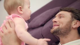 Happy father face. Portrait of joyful dad emotion. Father kiss dauther stock video footage