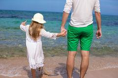 Happy father and his adorable daughter at white Stock Photo