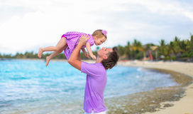 Happy father and his adorable little daughter at Royalty Free Stock Photos