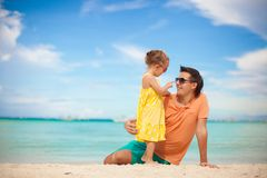 Happy father and his adorable little daughter at Royalty Free Stock Photo
