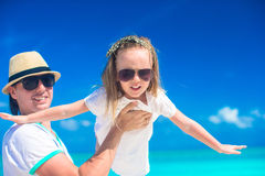 Happy father and his adorable little daughter have fun on summer vacation Royalty Free Stock Photography