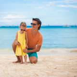 Happy father and his adorable little daughter on Royalty Free Stock Photography
