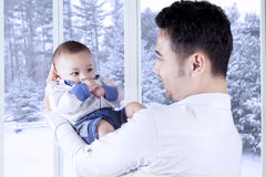 Happy father and his adorable male baby Stock Photography