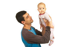 Happy father and his baby girl Stock Photos