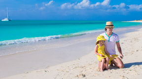 Happy father and his cute little daughter at beach Royalty Free Stock Photography