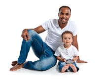 Happy father and his son with cell phone Stock Photography