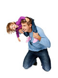 Happy father holding daughter on his shoulders Royalty Free Stock Photos