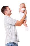 Happy father holding his adorable son Royalty Free Stock Image