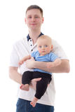 Happy father holding his little baby son isolated on white Royalty Free Stock Images
