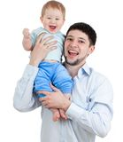 Happy father holding his son isolated on white Stock Photos
