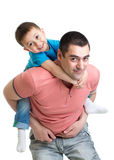Happy father holding kid on back isolated Stock Photo