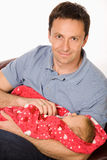 Happy father holds baby Royalty Free Stock Photo